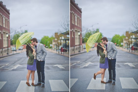 Photograph of Couple Kissing in Rain