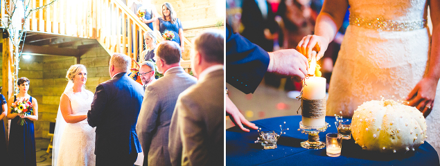 Candle lighting at wedding ceremony | Pratt Place Barn and Inn in Fayetteville